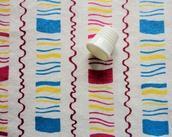 red and blue with yellow striped print vintage full feedsack fabric