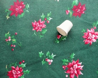 red and pink pointsettias on green christmas vintage cotton fabric -- 42 wide by 1 yard plus