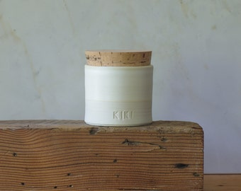 Urn, custom pet urn, straight corked urn in custom color, name, date. modern custom urn. White porcelain, bone white. read item details