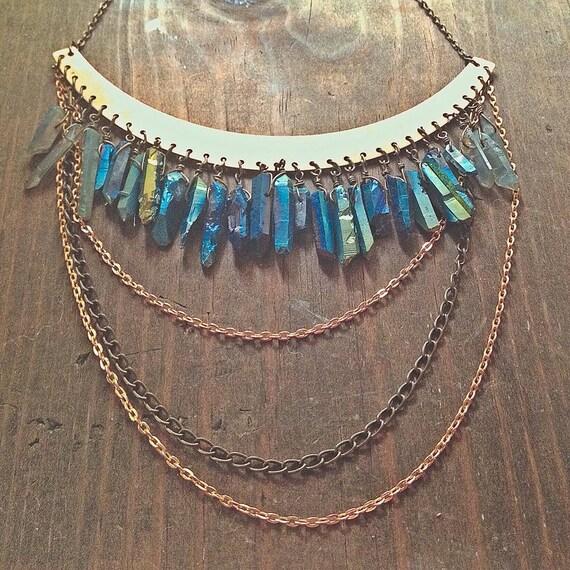 Blue Titanium & Grey Mystic Quartz Crystal Point + Draped Chain Chandelier, Large Raw Brass Collar Necklace.