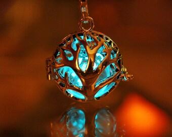 Tree of life Locket with Luminous dandelion GLOW in the DARK