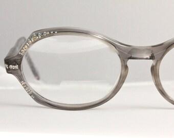 Vintage 50's French Swank Rhinestone Gray Cat Eye Eyeglasses
