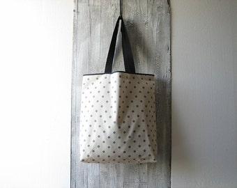 polka dots shopping bag with long handles / minimal tote / beige cotton shopper / gray polka dot bag / large grocery bag / beach bag