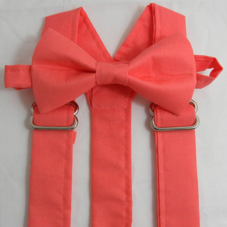 coral suspenders coral bow tie set bridal color
