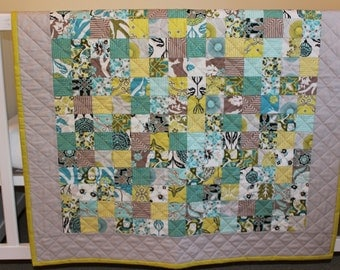 Reserved - Baby Quilt - Quilted - Baby Crib Stroller Floor Quilt Play Quilt - Gender Neutral - Teal Brown Turquoise Chartreuse Green