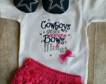 Dallas Cowboy Bows and Bling Girl Gift Set