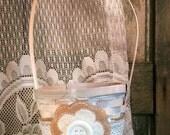Rustic Flower Girl Basket, Shabby Chic, Felt Flower Girl Basket, Tan, Ivory and White Basket by Green Orchid DS.