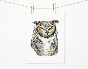 Owl 5x7 Art Print - Great Horned Owl Woodland Giclée Print
