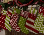 READY TO SHIP 5 Christmas stocking, Christmas stockings personalized in bright red and green cotton