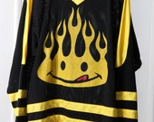 reserved for jessica ///// RAD 90s Smiley Face Black and Yellow Mesh Hockey Jersey