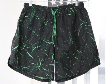 Neon Green and Black Crackle Pattern 90s Shorts