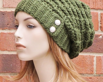 Olive Green Slouchy Hat - Womens Crochet Slouch Hat - Slouchy Beanie Hat - Winter Slouch Hat - Button Beanie Hat // THE EMORY //