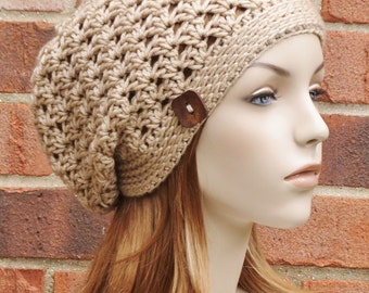 Womens Slouchy Hat - Sand Beige Hat Slouchy Beanie Hat Crochet Hat - Crochet Slouchy Hat Beret - Button Beanie Winter Hat // THE RILEY //