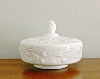 Vintage Milk Glass Dish Covered Lidded Dish Bowl Fostoria Berry Design White Cottage Chic Decor