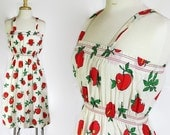 70s Sundress / Novelty Print / Apples / Red Orange / Deadstock