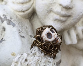 Bronz Skull Ring
