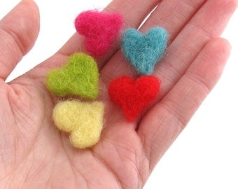 5 Bright felt hearts - small heart decorations in bright colors