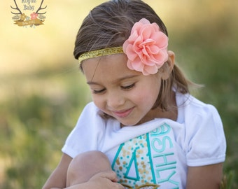 Coral & Gold Glitter Headband -  Baby - Newborn Infant Toddler Girls Adult Wedding Pastel Light Coral Peach Baby Headband