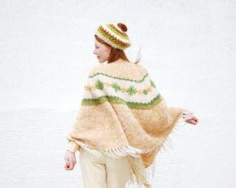 Vintage floral knit shawl, ivory white green yellow mohair wool boho sweater poncho cape jacket, fringe SALE