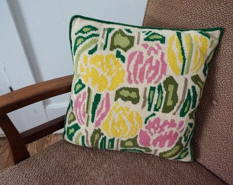 Vintage Needlepoint Throw Pillow with Mod Yellow Pink Green Flowers