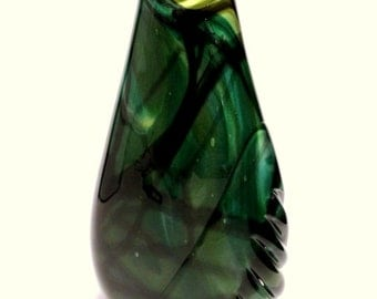 Green and Black-Partial Gather-Glass Vase