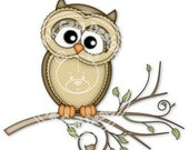 Digi Stamp Ollie on Branch -  Owl. Birthday Card, Party  Invitations, etc