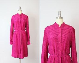 vintage 1970s silk print dress / belted silk dress / mandarin collar dress / 1970s fuschia pink dress / herringbone print silk dress