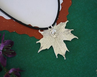 SALE Leaf Necklace, Silver Maple Leaf, Real Sugar Maple Leaf Necklace, Silver Maple Leaf Pendant, SALE212