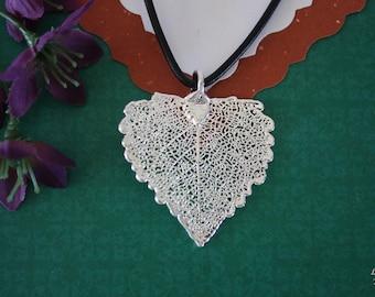 SALE Leaf Necklace, Silver Cottowood Leaf, Real Cottonwood Leaf Necklace, Heart Shaped Leaf, Silver Cottonwood Leaf Pendant, SALE228
