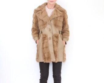 SALE Vintage Light Brown FAUX Fur and Faux Leather Coat 60s / 70s Panelled Card Coat Chic Belt Details Medium - Large