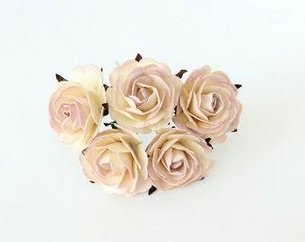 5 pcs - Sot lilac & Cream mulberry paper big 4 cm roses