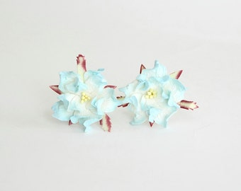 10 pcs - 4 cm Blue and white gardenia flower