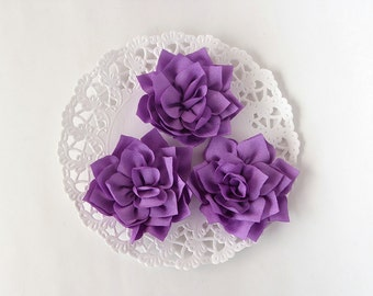 "3 pcs - Lilac double satin flowers - Frayed Flower - Fabric Flower - 2 1/4"" Flowers"