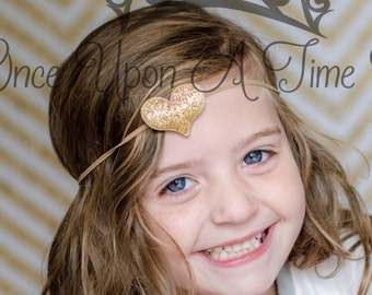 Gold Glitter Heart Petite Headband - Little Girls Modern Valentine's Day Hair Bow - Baby Girl Hairbow Accessory - Sparkly Skinny Band