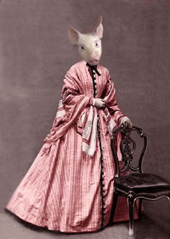 Peggy - Vintage Pig Print - Anthropomorphic - Altered Photo - Funny Animal - Victorian Pig - Collage Art - Pig in Pink Dress