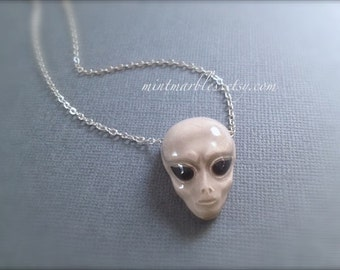 Alien Head Necklace. Ceramic Halloween Necklace. Silver. Spooky. UFO Outer Space Jewelry. Creepy. Gray Black. Under 25. Oddities Unique