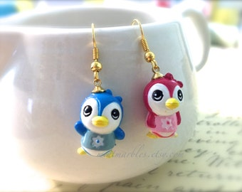 Blue and Pink Lovebird Mismatched Dangle Earrings. Cute Birds. Woodland. Whimsical. Gold or Silver Hooks. Drop Earrings. Under 15 Gifts.