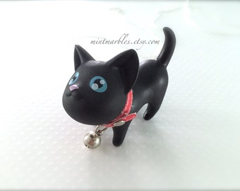 Black Cat Statement Necklace. Red Collar with Jingle Bell. Kawaii Cute. Adorable. Whimsical. Silver Chain. Fun Gifts. Cat Lady. Kitten.