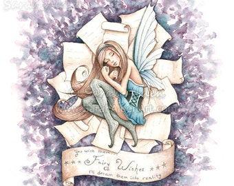 Dream Book Fairy Art Print Fantasy Illustration - Sleeping Girl Painting Tooth Fairy Wishes - Sarah Alden