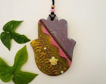Hand of Fatima Hamsa Wall Hanging, Handmade Ceramic Flower Hamsa Good Luck Charm, Wall Hamsa Spiritual Art, Housewarming Gift, Ready to Ship