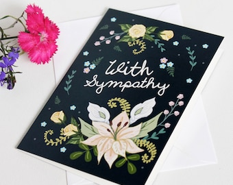 Sympathy Card - With Sympathy Card - Sorry for your loss - Condolence Card - Thinking of You Card
