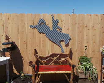 Large Bronc Rider Corrugated Metal/Cowboy/Horses/Rodeo/Western/Cowgirl/Ranch/Free Shipping
