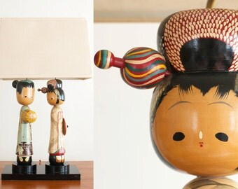 Vintage Large Wooden Kokeshi Doll Figural Lamp - Mid Century