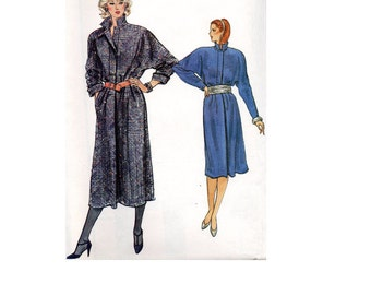 Vogue 8768 Sewing Pattern 80s Pullover Coat Dress A-line Loose Fit Standing Band Collar Raglan Wide Sleeves Uncut FF Bust 31 to 34