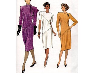 Vogue 9404 Sewing Pattern New Wave Style 80s Asymmetrical Fitted Straight Dress Long Sleeve High Neck Back Zipper Uncut FF Bust 34