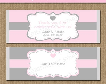EDITABLE Wedding Chocolate Bar Wrappers - Printable Bridal Candy Wrappers - Blush Pink and Grey Wedding Party Favors Gift Instant Download