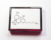 Cigarette Case, Cigarette Holder, THC Molecule, Cigarette box, Metal Wallet, Cigarette dispenser, Stainless Steel, Case for Pot, THC (4917)