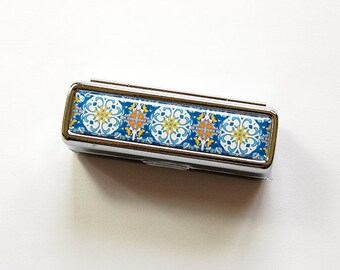 Lipstick case with mirror, Lipstick case, Lipstick holder, gift for her, stocking stuffer, case for lipstick, Blue, Mosaic (4965)
