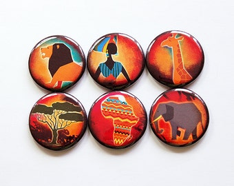 Africa Magnets, Magnet Set, button magnets, Kwanzaa gift, Kitchen Magnets, Ceramic Magnets, African, Lion, Giraffe, Elephant, Africa (5003)