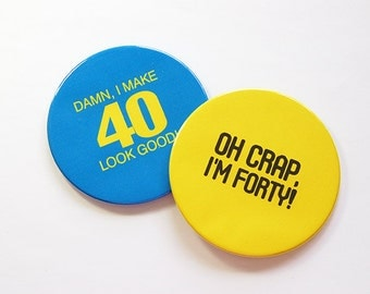 40th Birthday Coasters, Coasters, Birthday Party, Set of Coasters, Drink Coasters, Forty, 40th, birthday, Humor, Funny Coasters (5044d)